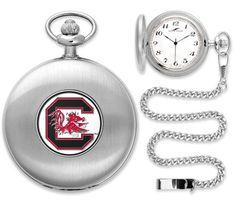 South Carolina Gamecocks Silver Pocket Watch