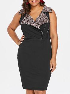 963eaa8de7b Plus Size Leopard Trim Notched Collar Dress In Black