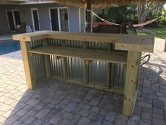 Wood/Metal Thomas – x x rustic corrugated metal and real pressure treated wood outdoor or indoor patio bar - Patio