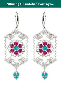 Alluring Chandelier Earrings by Lucia Costin with Turquoise ? Green, Fuchsia Swarovski Crystals, Cute Details, Suspended Chains and Fancy Charms; .925 Sterling Silver; Handmade in USA. Fascinating and full of feminine - these chandelier earrings are designed by Lucia Costin. Lucia Costin was born and raised in Eastern Europe, that is why all her products have a European touch of glamour but each item is hand-made in the USA and sold worldwide. The designs of Lucia Costin are very unique…