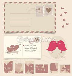 Priorità bassa della cartolina dellannata e francobolli - per auto matrimonio — Vettoriali Stock © jannystockphoto #64808999