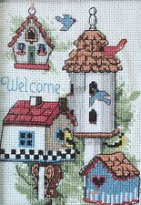 Framed Completed Birdhouse Welcome Cross Stitch By Daniel Gorman Dimensions 1995