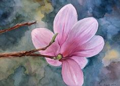 "ORIGINAL watercolor PAINTING 10"" x 14"" of ""Magnolia"" signed"