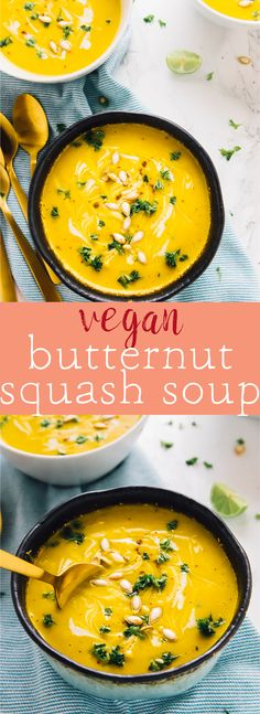This Vegan Butternut Squash Soup is made in just one pot, blended to creamy perfection and done in 30 minutes. It's vegan, gluten free, and made with all natural ingredients! via jessicainthekitch. Best Soup Recipes, Healthy Soup Recipes, Whole Food Recipes, Vegetarian Recipes, Diet Recipes, Blended Soup Recipes, Vegan Butternut Squash Soup, Vegan Dishes, Vegan Soups