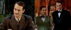 Marcus Logan traje sastre de lana marrón con raya diplomática y, Marcus Logan con esmoquin. El tiempo entre costuras. Capítulo 4