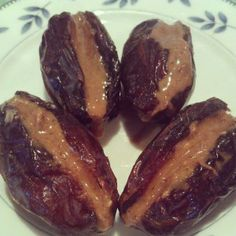 Dates with almond butter.  Made these tonight - they are a great way to satisfy a sweet tooth #paleo #dessert