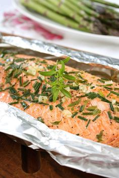 Barbecued Salmon in Foil with Tarragon, Chives  Vermouth Recipe | cookincanuck.com