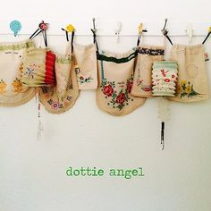"""handy dandy #dottieangel project sacks will be hanging in the shop window this Thursday :)"""