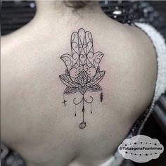 tatuagem de mão de Hamsá flor de lótus e mandala - Pesquisa Google                                                                                                                                                     Mais