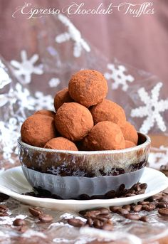 Espresso Chocolate Truffles. Decadent Chocolate Truffles made with espresso flavors and coated with sweetened cocoa powder. | from willcookforsmiles.com