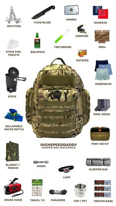 Diaper Bag Backpack for Dad Large Waterproof Tactical Travel Baby Bag for Men + Changing Pad Insulated Pockets Stroller Straps and Wipe Pocket Multi-Function Military Style Survival Life Hacks, Survival Items, Urban Survival, Camping Survival, Survival Prepping, Survival Skills, Survival Quotes, Camping Checklist, Emergency Backpack