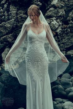 bhldn fall 2016 bridal spagetti strap scoop neckline lace embroidered fully embellishment bodice vintage art deco sheath wedding dress sweep train (naomi) #bridal #wedding #weddingdress #weddinggown #bridalgown #dreamgown #dreamdress #engaged #inspiration #bridalinspiration #weddinginspiration #weddingdresses