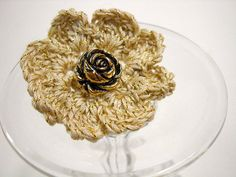 Flower Lapel Pin  Crocheted Lapel Flower  by by StitchKnit on Etsy, $6.00
