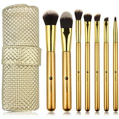 L COSMETIC(TM) 7 Piece Makeup Brushes Set Professional Premium Synthetic Hair Eye Makeup Brushes with Powder Blusher Foundation Angled Eyeshadow Cosmetic Brushes (goden) ** You can get additional details at the image link. (This is an affiliate link) #MakeupBrushesTools
