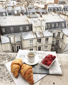 Croissants and coffee for breakfast on the balcony in Paris, France. Places to visit and see on your vacation trip to Paris. Paris bucket list things to do. Aesthetic Food, Travel Aesthetic, Aesthetic Photo, The Places Youll Go, Places To Go, Paris By Night, Oui Oui, Paris Travel, France Travel