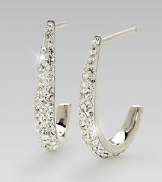 Dazzle and delight your special recipient with this incredible pair of earrings! Featuring 47 round-cut Swarovski Crystals on each earring set in stunning sterling silver, this pair will. More Details Swarovski Crystal Earrings, Sterling Silver Earrings, All That Glitters, Online Gifts, Earring Set, Jewels, Engagement Rings, Gift List, Jewellery