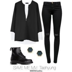 Save Me MV: Taehyung by btsoutfits on Polyvore featuring mode, Joseph, J Brand, Dr. Martens and Gorjana