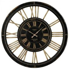 32in Large Wall Clock Wth Distressed Handpainted Frame - MEK2096