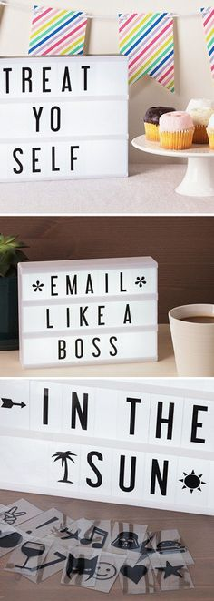 For the office walls: (We want to email like a boss!) Show off any message—in lights—with this retro-style marquee. Change it as often as you like with quotes, reminders, or holiday greetings.