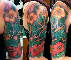 Tropical Sara Purr Tattoo pertaining to dimensions 1773 X 1500 Tropical Tattoo Sleeve - Your tattoo doesn't need to have a profound significance. Girly Sleeve Tattoo, Half Sleeve Flower Tattoo, Flower Tattoo Back, Flower Tattoo Shoulder, Sleeve Tattoos For Women, Tattoo Sleeve Designs, Flower Tattoo Designs, Tattoo Flowers, Tropical Flower Tattoos