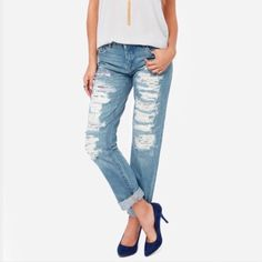 Blank NYC Distressed Jeans Perfect condition • there is a black lining underneath distressing so you can't actually see your skin • boy friend fit • bought and too big for me Jeans Boyfriend