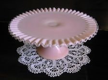 Fenton Rose PINK Glass Silver Crest Pedestal Cake Stand Plate