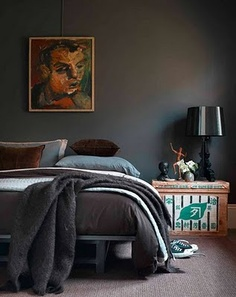 Looking for a good grey for the bedroom.  I love this room with all of the colors you can see in the grey paint.