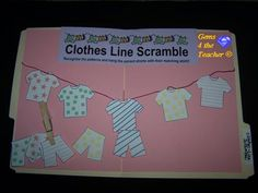 Have a file folder game, but also toddler/infant pajamas for clothesline pattern matching.