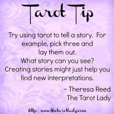 Tarot Tip try using tarot to tell a story. You may just find new interpretations. Tarot tips. Get an Online Psychic Reading from one of our Online Psychic Readers in the comfort of your own home/office. Tarot Cards For Beginners, Tarot Card Spreads, Tarot Astrology, Oracle Tarot, Tarot Card Meanings, Tarot Readers, Palmistry, Psychic Readings, Card Reading
