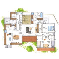 写真の説明はありません。 Rendered Plans, Decor Interior Design, Interior Decorating, Traditional Japanese House, Underground Homes, Home Design Plans, House Layouts, I Love House, House Plans
