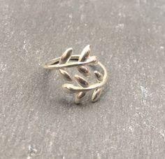 925 Sterling Argent Arbre de vie Feuilles Branche Réglable Wrap Ring A3295
