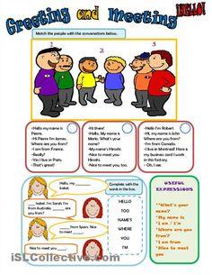 Teaching Greetings In English Worksheets: Greetings In English 2  Esl Survival Packet  ,Worksheet