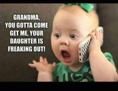 Humor from a Pentecostal Pew Grandma Quotes, Daughter Quotes, Mom Quotes, Cute Quotes, Funny Grandma, Funny Baby Memes, Funny Babies, Funny Kids, Funny Jokes