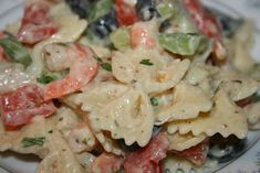 Bow tie pasta, onion, bell pepper, celery and black olives with seasoned boiled shrimp, dressed with a creamy mayonnaise and mustard vinegar dressing. Seafood Dishes, Pasta Dishes, Seafood Recipes, Pasta Recipes, Salad Recipes, Cooking Recipes, Seafood Menu, Cooking Ideas, Soup And Salad