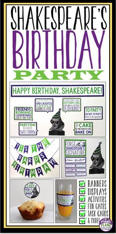 Throw Shakespeare a birthday party in your classroom!