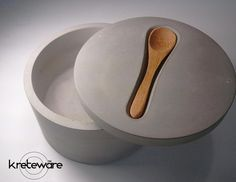 spoon rest lid concrete salt cellar spice jar van kreteware op Etsy, $44.95