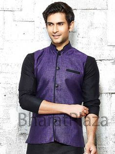 Captivating purple color linen Nehru Jacket with high neck collar. Item Code: NJI001P