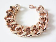 Oversize Chunky Rose Gold Chain Bracelet by YuniKelley on Etsy