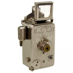 Xyz by Lancart, Paris, c.1935 Etablissements Lancart, Paris. Nickel-plated subminiature camera for 16 mm film, size 12 x 15 mm, lens Zyzor 1:7,7, shutter I and P, not working, shutter speed release lever with solder joint