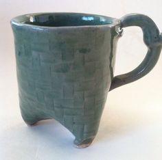Unique 3 Footed Green Stoneware Coffee Tea Mug Signed