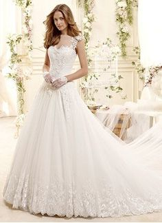 Ball-Gown Scoop Neck Chapel Train Tulle Lace Wedding Dress With Beading Sequins