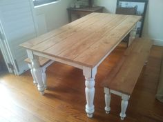 This rustic pine dining table features two matching benches to seat six guests. Both the table and benches are topped with slats of roughly finished pine. Legs are painted white and weathered giving the piece a well-worn but warm appeal. Rustic Kitchen Tables, Kitchen Table Bench, Dining Table With Bench, Pine Table, Diy Farmhouse Table, Rustic Table, Dining Room Table, Dining Rooms, Industrial Table