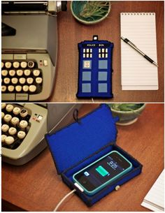 TARDIS Phone Case For all the lovely Doctor Who fans… Diy can be found here :) Oh my word, I MUST make this! Given all the access to info on smartphones, it's literally bigger on the inside. The Tardis, The Doctor, Eleventh Doctor, Dr Who, Diy Anime, Couture Vintage, Diy Cans, Do It Yourself Fashion, Geek Crafts