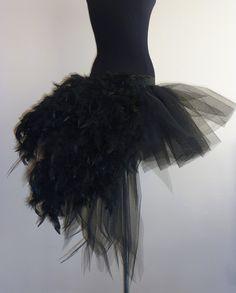 Black Swan tutu skirt Burlesque Moulin Rouge size US 12 14 16 UK 14 16 18 feathers. $60.00, via Etsy.