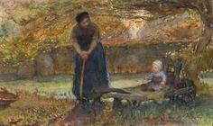 Bernardus Johannes Blommers   1845 - 1914 - Moeder en kind in de tuin