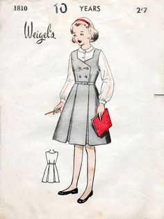 1950s Girls School Pinafore Dress Vintage Sewing Pattern - Weigel's 1810 Size 10