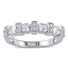 Catherine Catherine Malandrino Created White Sapphire and Diamond Accent Anniversary Band in Sterling Silver (G-H, I2-I3) (Size 10), Women's