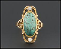 Antique Turquoise & Diamond Ring | Art Nouveau 14k Gold Turquoise Ring | Antique Art Nouveau Ring | December Birthstone | Size 6 ring