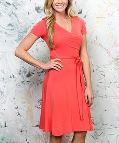 Look at this White Plum Coral Wrap Dress on #zulily today!