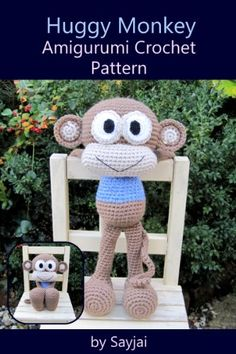 Huggy Monkey Amigurumi Crochet Pattern (Big Huggy Dolls Book 3) by Sayjai Thawornsupacharoen